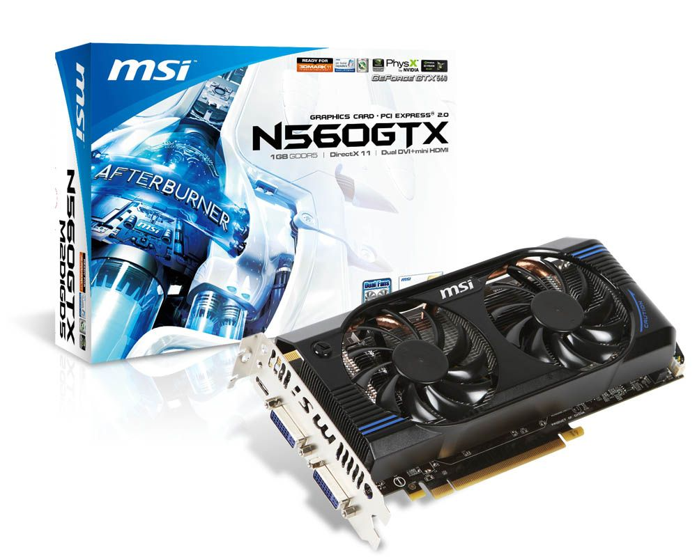MSI GeForce GTX560 (N560GTX-M2D1GD5), 1Gb, 256bit