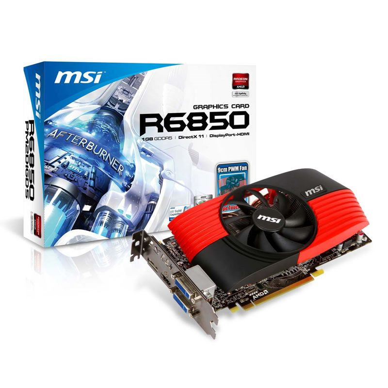 MSI ATI Radeon HD6850 (R6850-PM2D1GD5/OC), 1Gb, 256bit